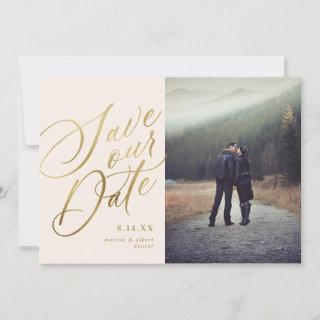 Calligraphy Script | Blush Gold | Photo Save The Date