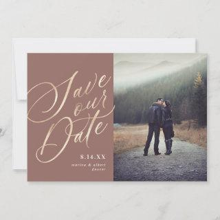 Calligraphy Script | Gold Neutral  | Photo Save The Date