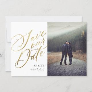 Calligraphy Script | White Gold | Photo Save The Date