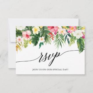 Calligraphy Tropical Floral Wedding RSVP Card