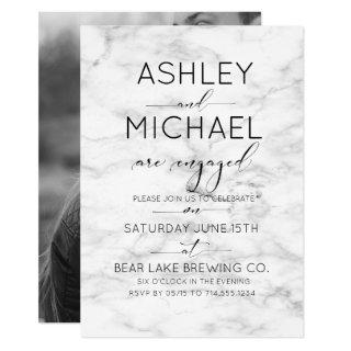 Calligraphy Typography Marble Engagement Party Invitation