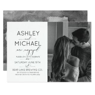 Calligraphy Typography Photo Engagement Party Invitation