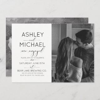 Calligraphy Typography Photo Engagement Party Invitations
