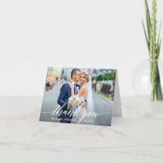 Calligraphy Wedding Bride Groom Photo W Note Thank You Card
