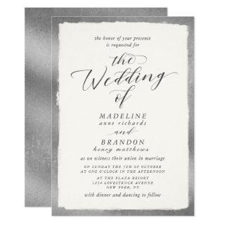 Calligraphy with Silver Edge Luxurious Wedding Invitations