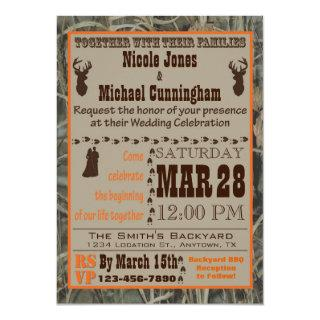 Camo and Hunting Burnt Orange Wedding Invitations