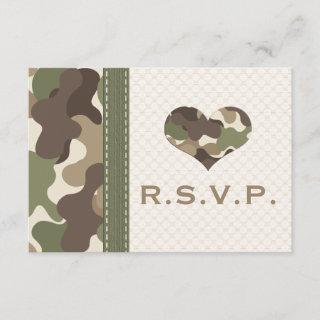 Camo Camouflage Heart RSVP Response Cards