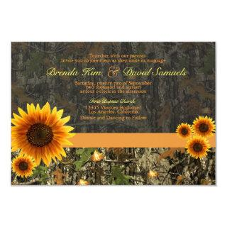 Camo Sunflowers Wedding Invitations
