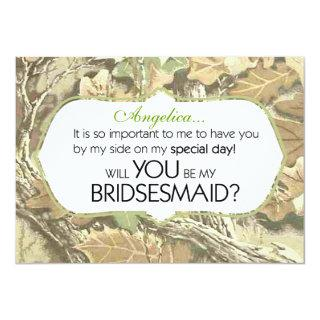 Camo Will You Be My Bridesmaid Invitation