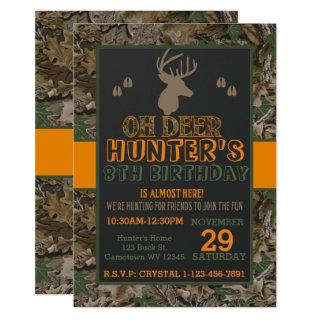 Camouflage Buck Deer Birthday Party Invitation