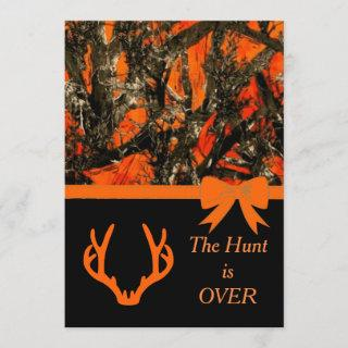 Camouflage Wedding Invitations with deer horns.