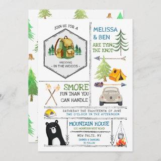 Camping Themed Wedding - Badges & Icons Invitation