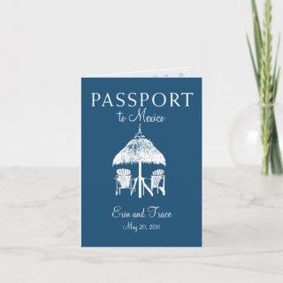 Cancun Mexico Passport Wedding Invitation