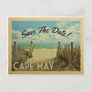 Cape May Save The Date Vintage Beach Nautical Announcement Postcard