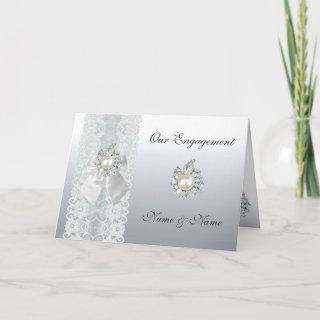 Card Engagement Wedding Save the Date Silver Lace