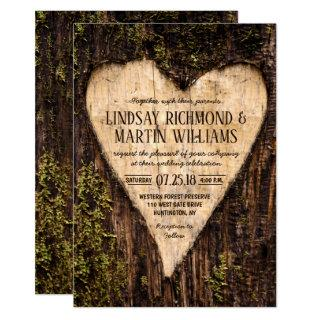 Carved Heart Country Rustic Tree Wedding Invitations