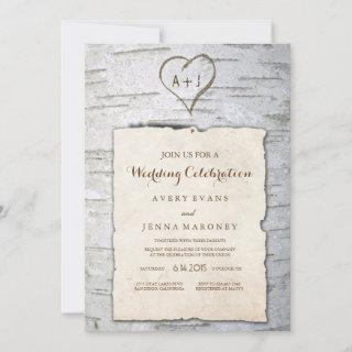 Carved Heart in Tree Pinned Wedding Invitations