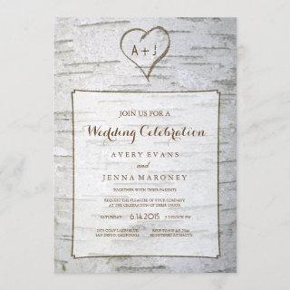 Carved Heart in Tree Wedding Invitations