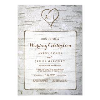 Carved Heart in Tree Wedding Invitation