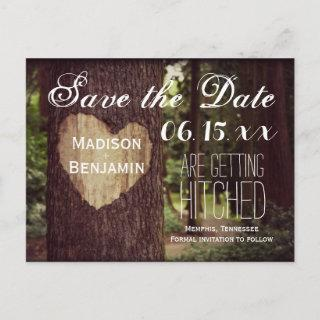 Carved Heart Rustic Tree Save the Date Postcards