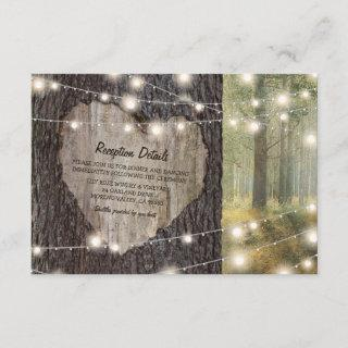 Carved Heart Tree Wedding | Rustic String Lights Enclosure Card