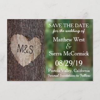 Carved Heart Tree Wedding Save The Date