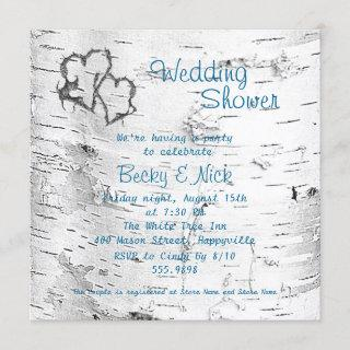 Carved Hearts Birch Bark Wedding Shower Invitations