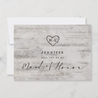 Carved Initials Be My Maid of Honor Proposal Card