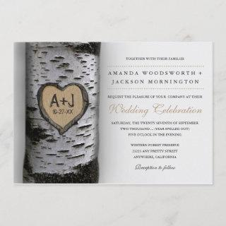 Carved Initials Birch Tree Wedding Invitations