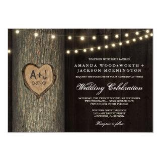 Carved Initials Old Oak Tree Wedding Invitations