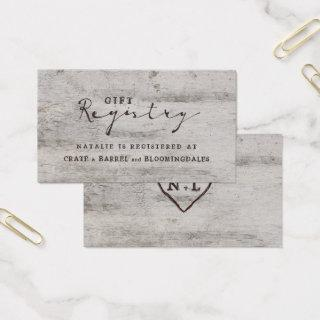 Carved Sweetheart Shower Gift Registry Insert Card
