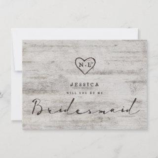 Carved Sweethearts Be My Bridesmaid Proposal Card