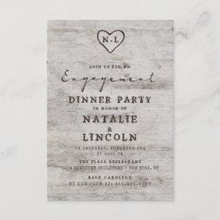 Carved Sweethearts Rustic Birch Engagement Party Invitation