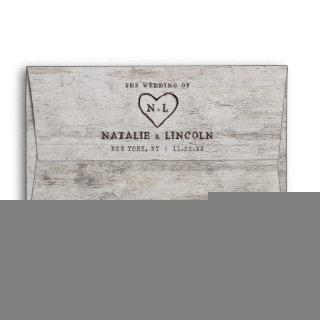 Carved Sweethearts Rustic Birch Monogram Wedding Envelope