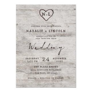 Carved Sweethearts Rustic Birch Monogram Wedding Invitation