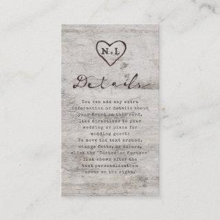 Carved Sweethearts Rustic Birch Wedding Details Enclosure Card