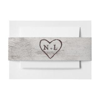 Carved Sweethearts Rustic Birch Wedding Monogram Invitation Belly Band