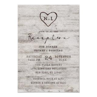 Carved Sweethearts Rustic Birch Wedding Reception Invitations