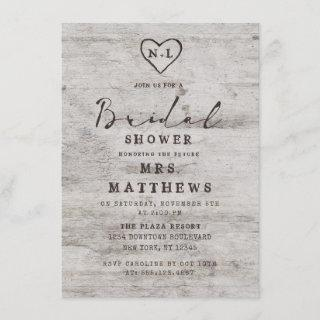 Carved Sweethearts Rustic Birch Wood Bridal Shower