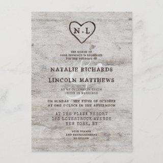 Carved Sweethearts Rustic Birch Wood Wedding Invitations