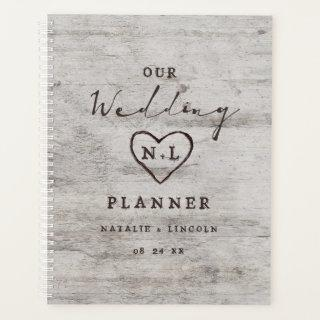 Carved Sweethearts Rustic Birch Wood Wedding Plans Planner