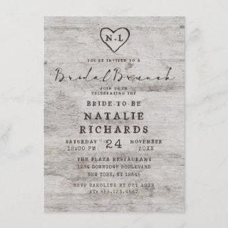 Carved Sweethearts Rustic Bridal Brunch Shower Invitations