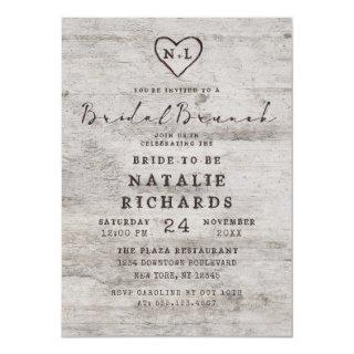 Carved Sweethearts Rustic Bridal Brunch Shower Invitation