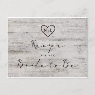 Carved Sweethearts Rustic Bride to Be Recipe Card