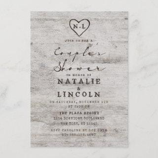 Carved Sweethearts Rustic Couple's Wedding Shower Invitations