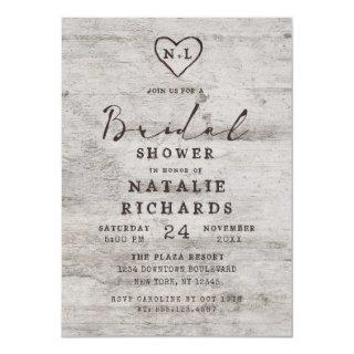 Carved Sweethearts Rustic Wedding Bridal Shower Invitation