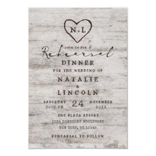 Carved Sweethearts Rustic Wedding Rehearsal Dinner Invitations