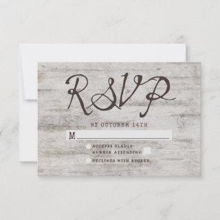 Carved Sweethearts Rustic Wedding RSVP Response