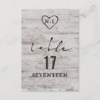 Carved Sweethearts Rustic Wedding Table Numbers