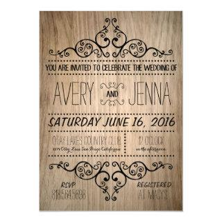 Carved Wood Country Rustic Wedding Invitations